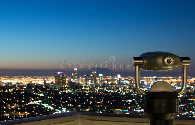 Los Angeles linia horyzontu przy wschodem słońca zdjęcie stock