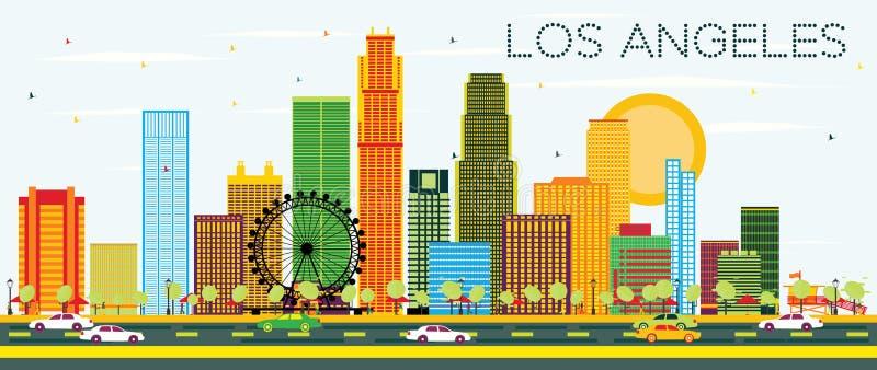 Los Angeles linia horyzontu z koloru niebieskim niebem i budynkami royalty ilustracja