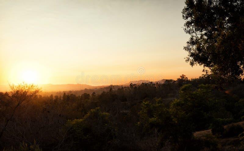 Los Angeles linii horyzontu zmierzch obrazy royalty free
