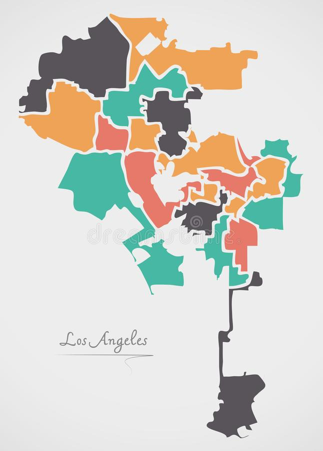 Los Angeles Map with boroughs and modern round shapes. Illustration royalty free illustration