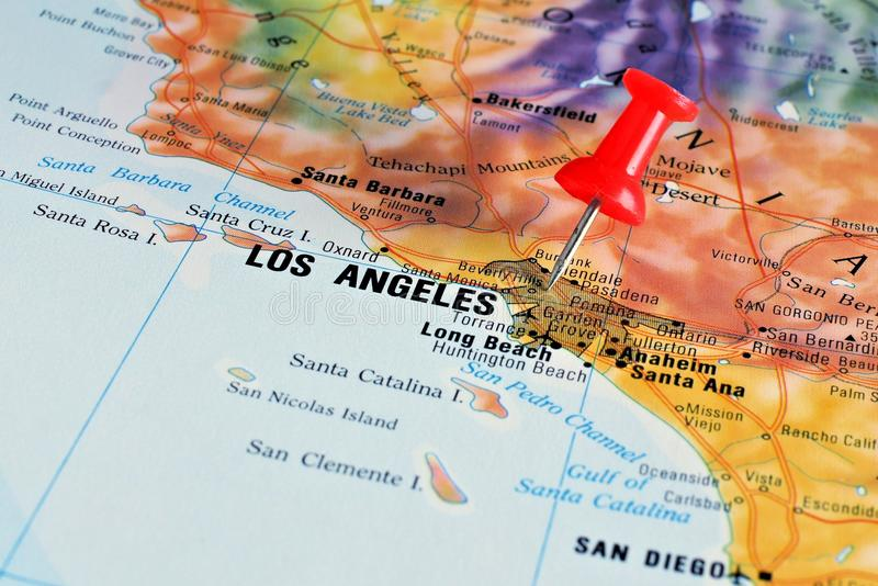 Los Angeles on map royalty free stock photos