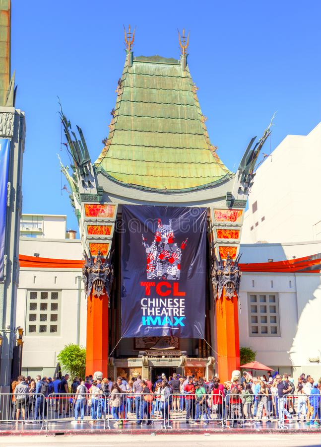 Grauman`s Chinese Theater on Hollywood Boulevard. LOS ANGELES - MAR 26, 2018: Crowds gather at the famous Grauman`s Chinese Theater on Hollywood Boulevard stock image