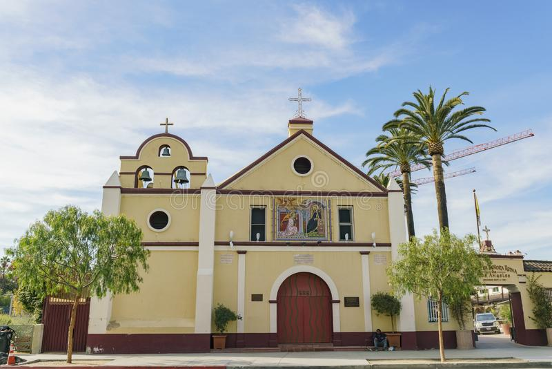 Exterior view of the Our Lady Queen of Angels Catholic Church royalty free stock images