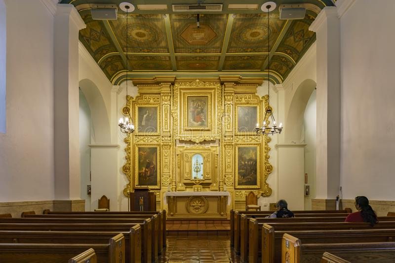 Interior view of the Our Lady Queen of Angels Catholic Church stock images