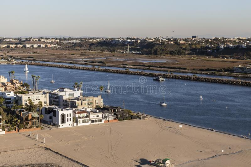 Los Angeles Marina Del Rey Inlet Aerial foto de archivo libre de regalías