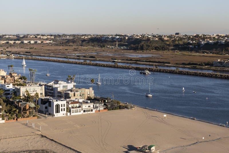 Los Angeles Marina Del Rey Inlet Aerial fotografia stock libera da diritti