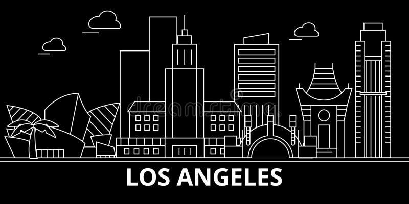 Los Angeles miasta sylwetki linia horyzontu USA - Los Angeles miasta wektorowy miasto, amerykańska liniowa architektura czy los a royalty ilustracja