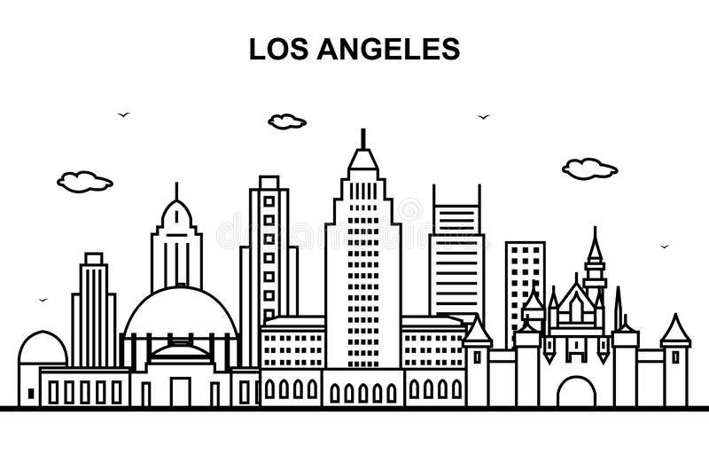 Los Angeles miasta wycieczki turysycznej pejzażu miejskiego linia horyzontu linii konturu ilustracja ilustracji