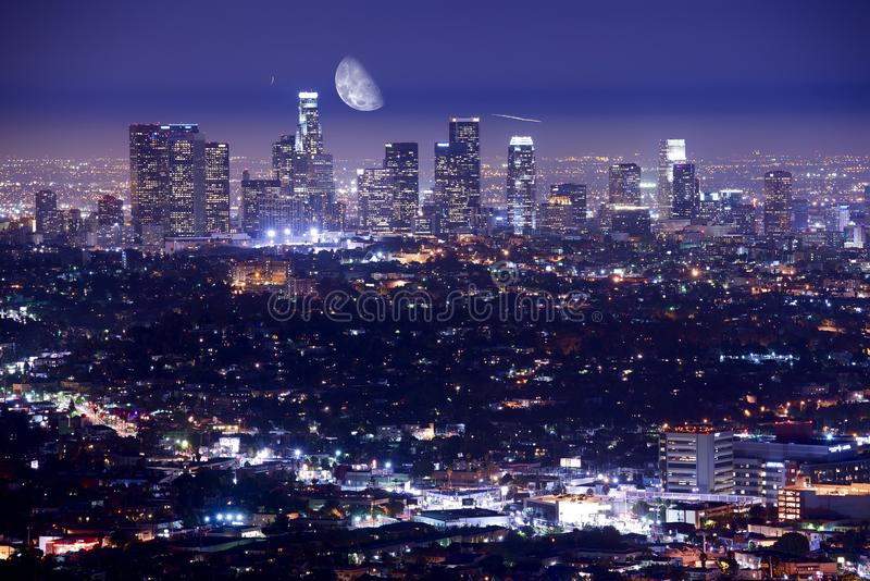 Los Angeles na noite fotografia de stock royalty free