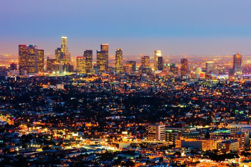 Los Angeles na noite foto de stock