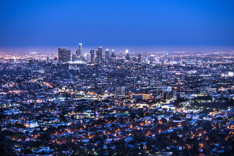 Los Angeles Night. Los Angeles downtown at night stock photo