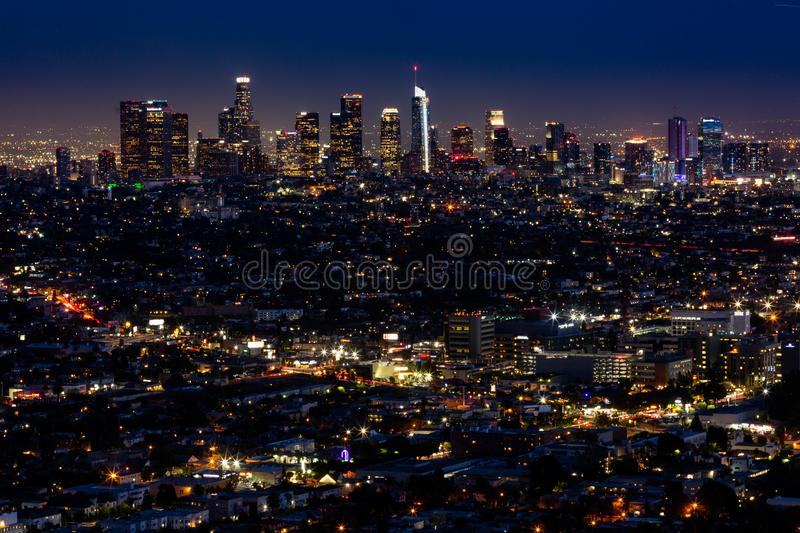 Los Angeles at Night. Los Angeles skyline at Night stock photography