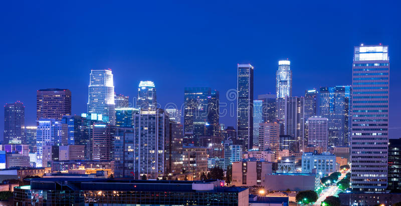 Los Angeles at night. Los Angeles skyline at night royalty free stock photography
