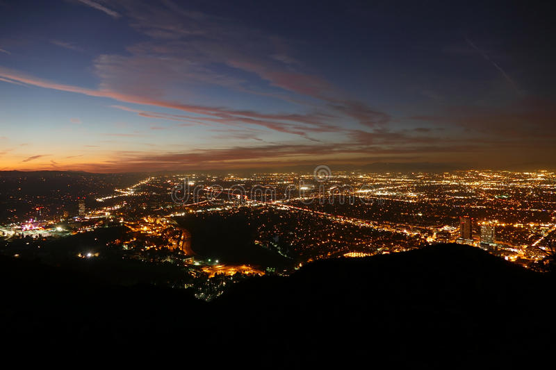 Los Angeles Night Valley View. Los Angeles San Fernando Valley dusk night view royalty free stock images