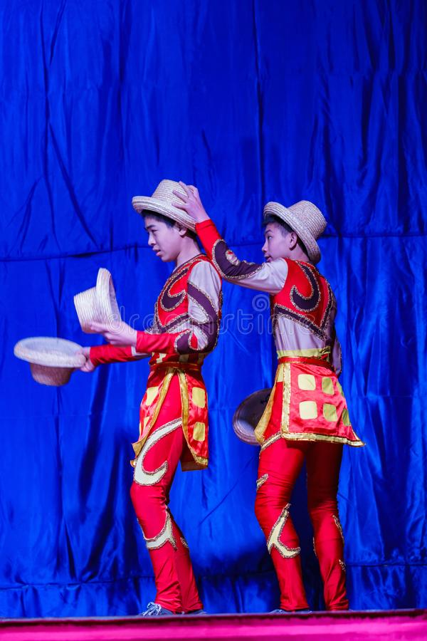 Chinese Acrobats & Dancers of Moonlight Forest Festival stock image