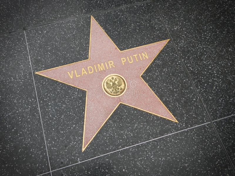 LOS ANGELES, NOV,14, 2014: Hollywood Walk of Fame star to Russia president Vladimir Putin world most powerful politician super sta royalty free stock photo