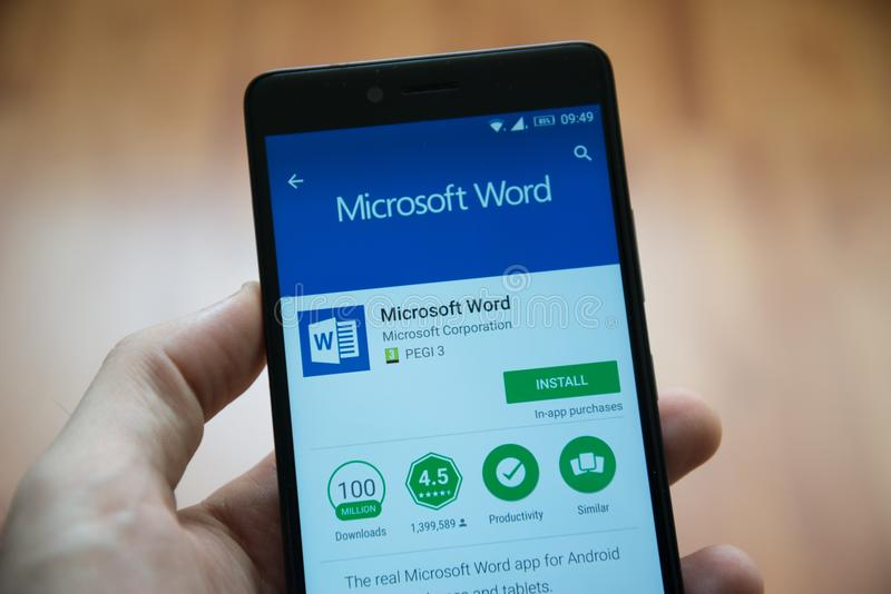Microsoft office word application in google play store stock photos