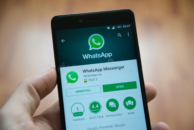 Whatsapp application in google play store royalty free stock photo
