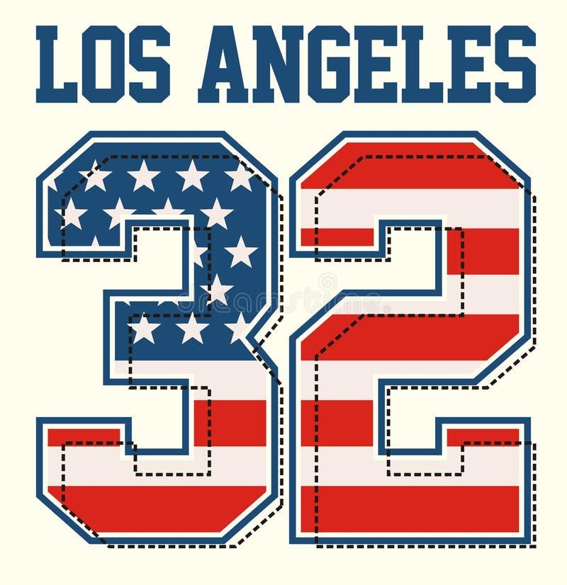 Los Angeles nummer 32 de beelden van de de vlagtextuur van Amerika royalty-vrije illustratie