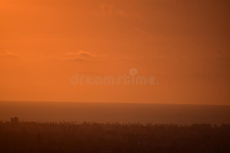 Los Angeles Ocean View. This photo was taken at Baldwin Hills Scenic Overlook in Los Angeles, California royalty free stock photos
