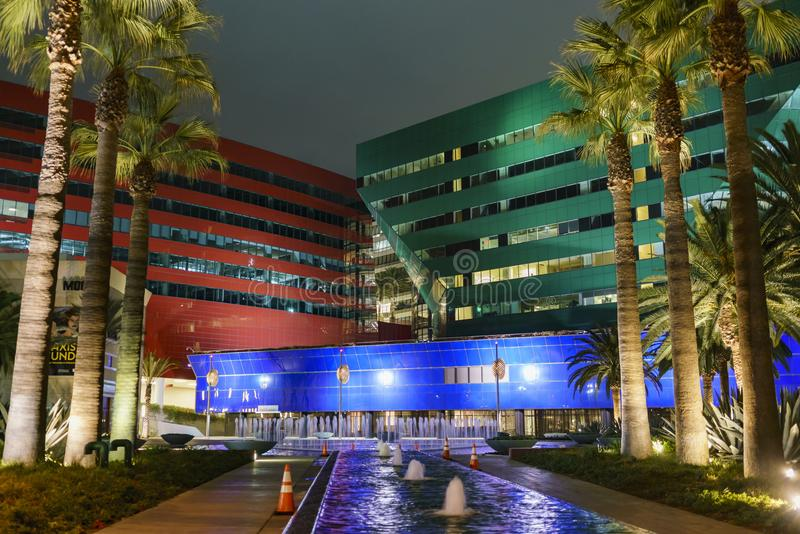 Night view of the special Pacific Design Center stock image