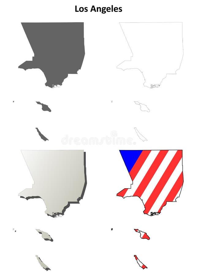 Los Angeles okręgu administracyjnego, Kalifornia kontur mapy set ilustracji