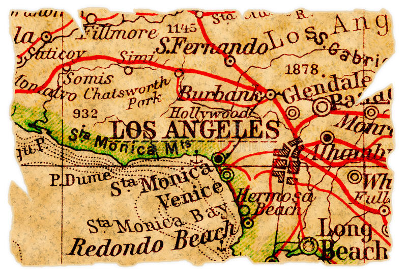 Los Angeles old map stock photos