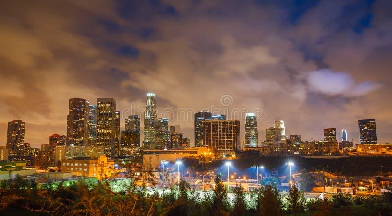 Los Angeles på natten arkivfoton