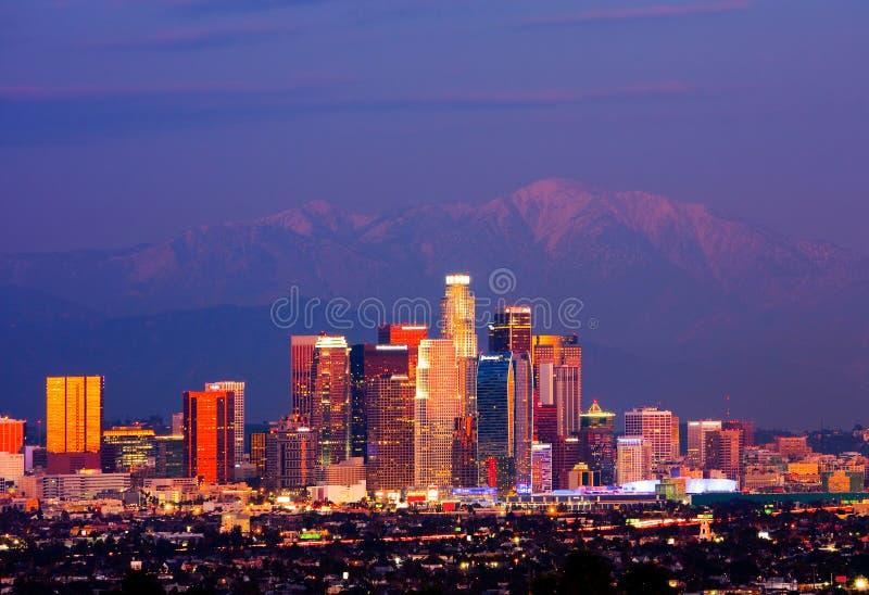 Los Angeles på natten fotografering för bildbyråer