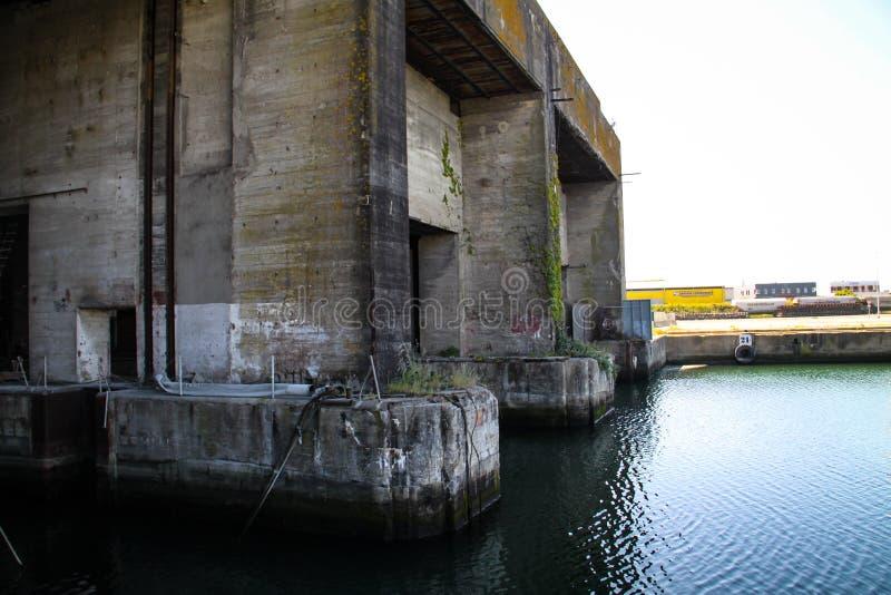 Los Angeles Pallice, Niemiecka łodzi podwodnej baza podczas Drugi wojny światowej La Rochelle, Francja Wizerunki różne części bun obraz stock