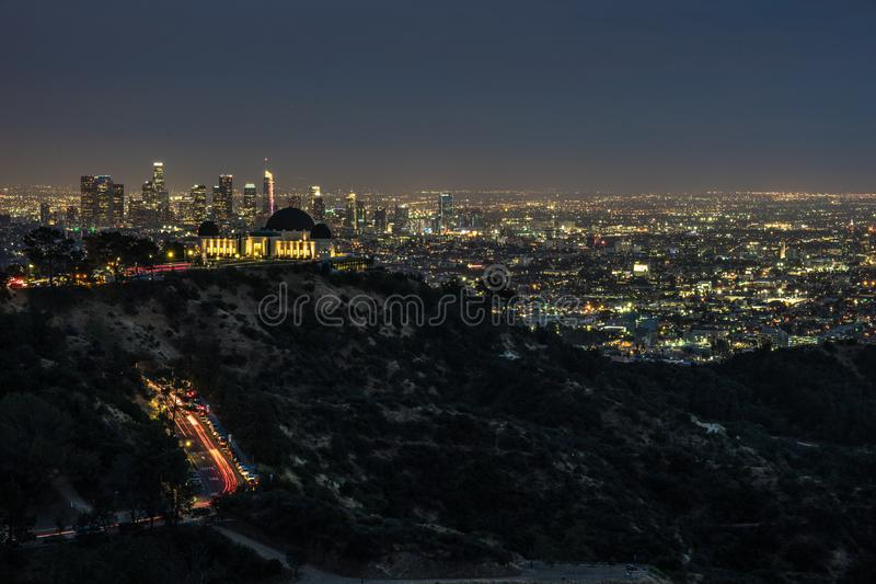 Los Angeles Panorama at night, California - Griffith Observatory. Beautiful night view on the city of Los Angeles in California stock image