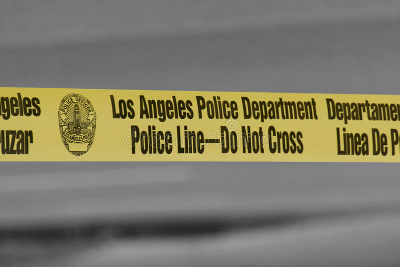 Los Angeles Police Department Police Line - Do Not Cross Tape stock photos