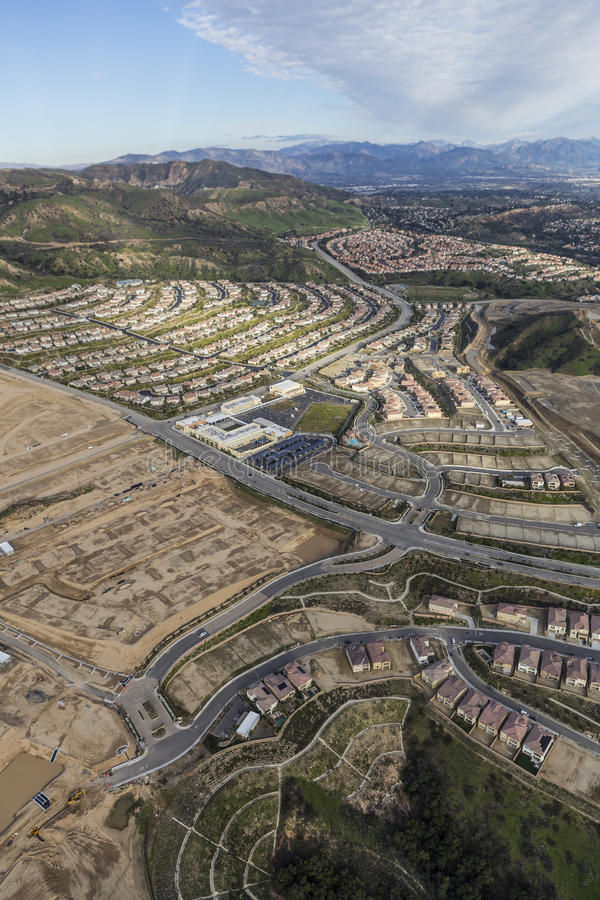 Los Angeles Porter Ranch Construction Aerial. Aerial view of Porter Ranch construction and Oat Mountain in the City of Los Angeles, California royalty free stock image