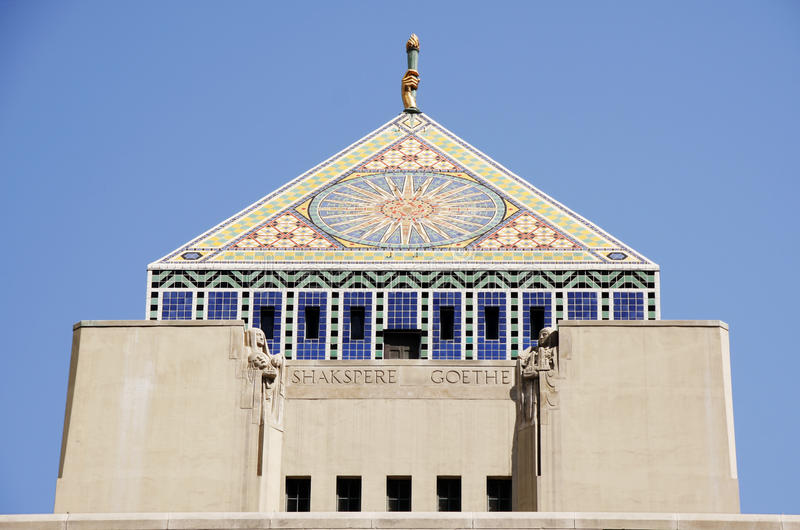Los Angeles Public Library Pyramid Roof stock photography