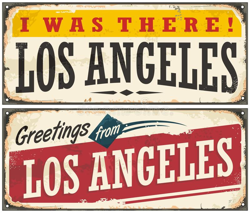 Los Angeles retro travel sign. Or postcard template stock illustration