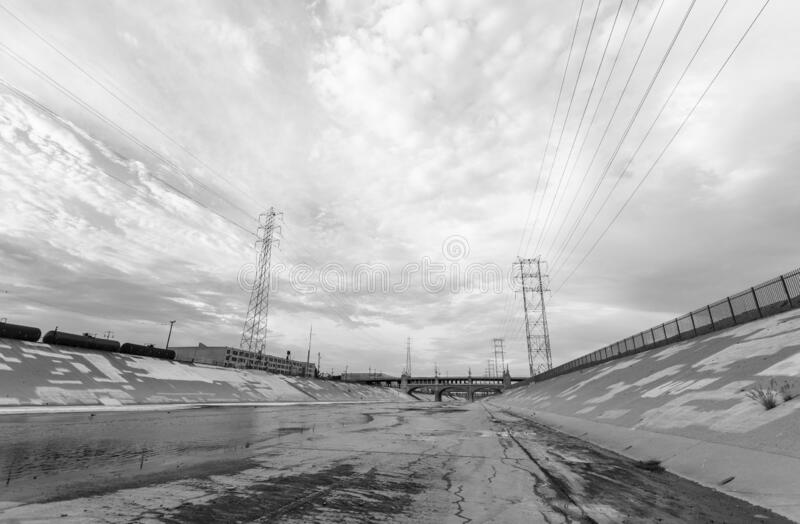 Los Angeles River Downtown Black and White royalty free stock image