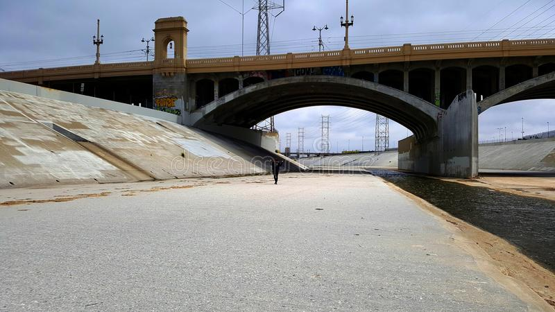 The Los Angeles river with person under the bridge. And with clear blue sky royalty free stock image