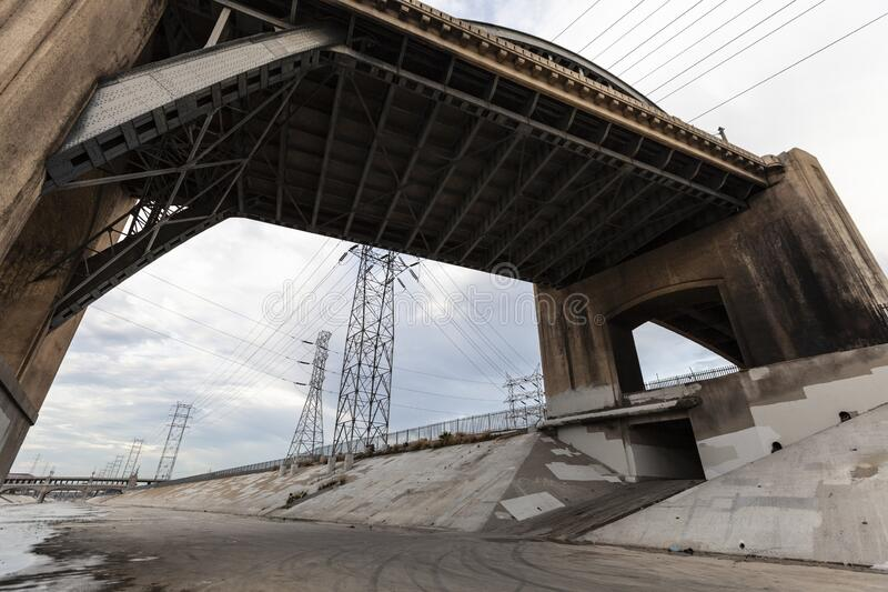 Los Angeles River Under the 6th Street Bridge stock images