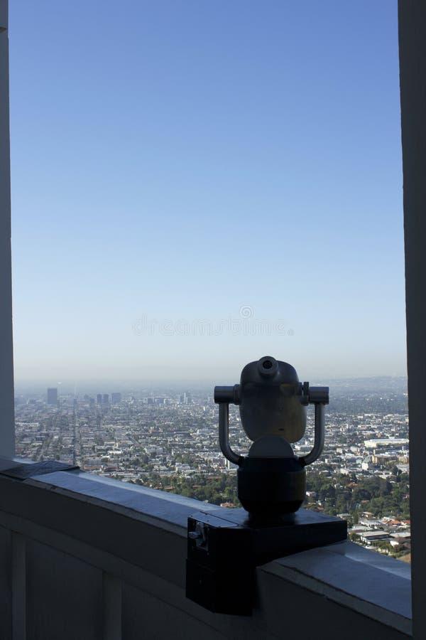 Los Angeles słuzyć jako tło ten moneta działający teleskop zdjęcie royalty free