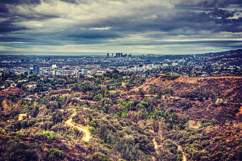 Los Angeles seen from Mount Lee. California royalty free stock photos