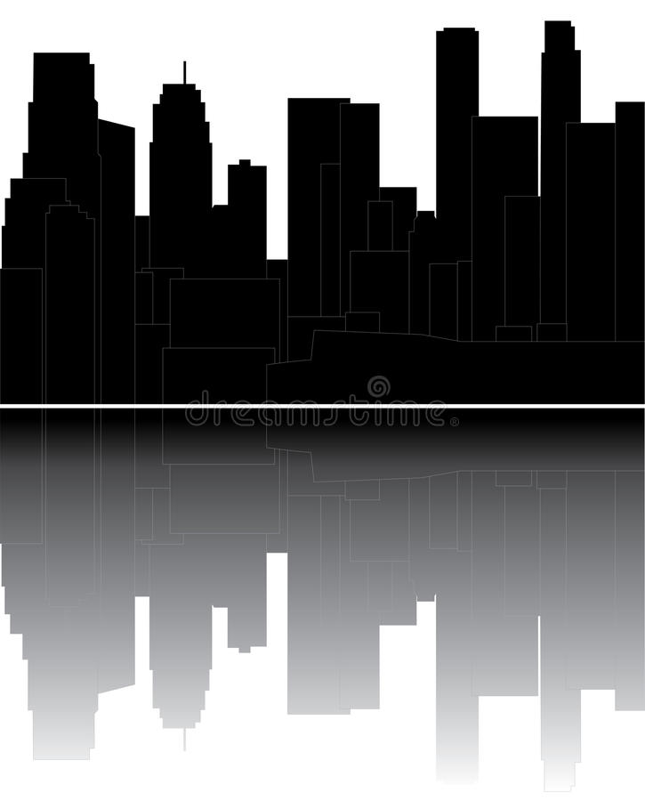 Download Los angeles skyline stock vector. Image of business, night - 20083020