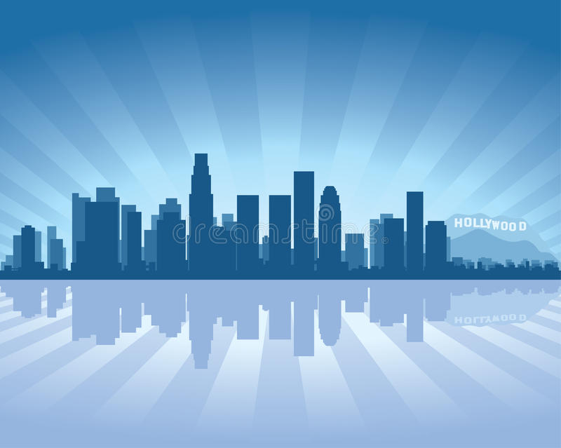 Los Angeles skyline. With reflection in water royalty free illustration