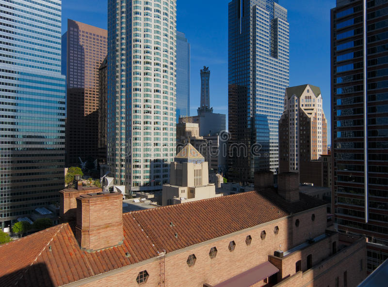 Los Angeles Skyline. From rooftop of Standard Hotel stock photography