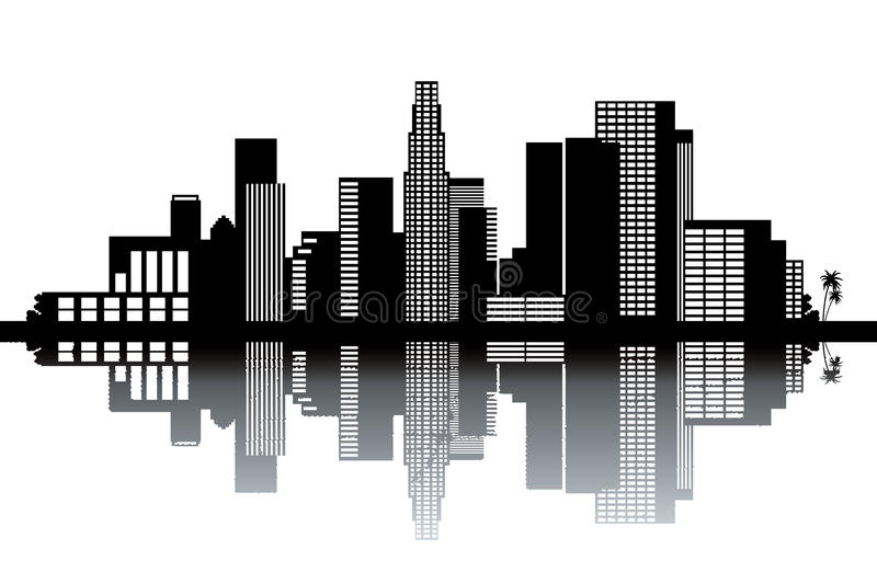 Los Angeles skyline. Black and white vector illustration vector illustration