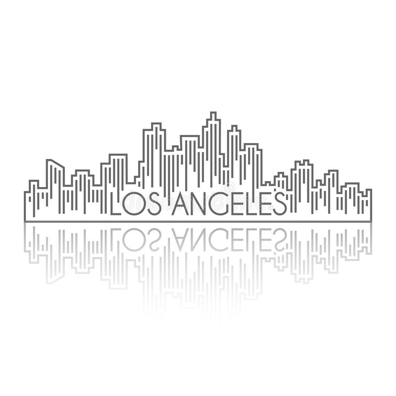 Los angeles skyline building line art trendy style royalty free illustration