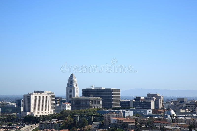 Los Angeles Skyline and City Hall royalty free stock image