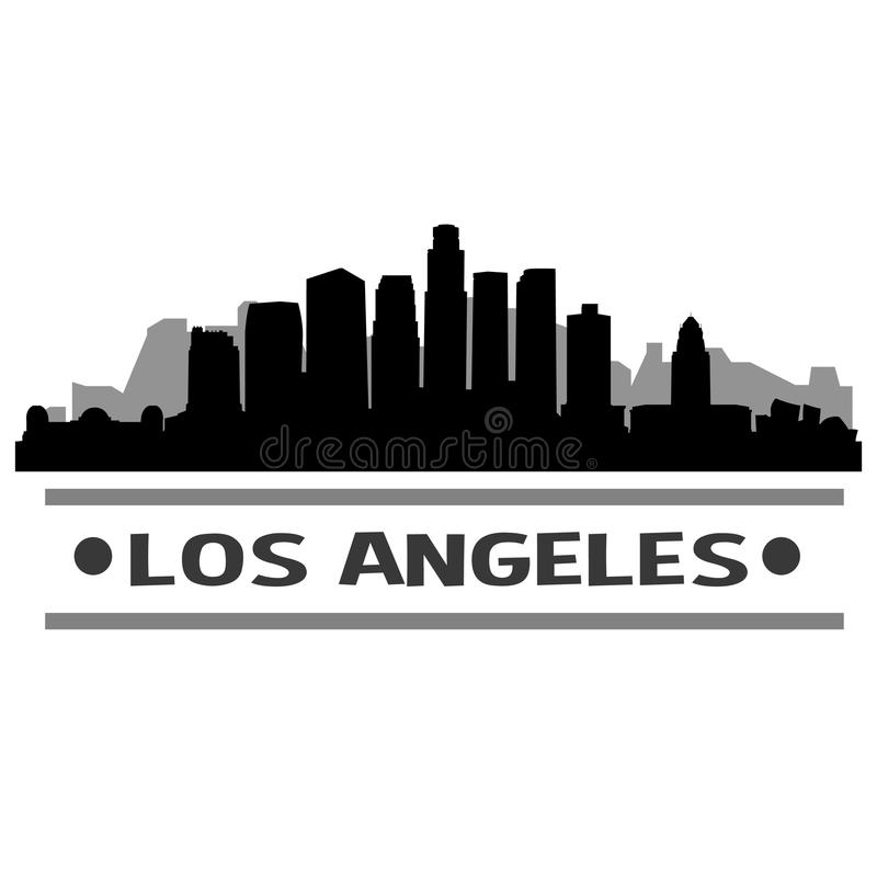Los Angeles Skyline City Icon Vector Art Design. A skyline of Los Angeles with emblematic buildings royalty free illustration