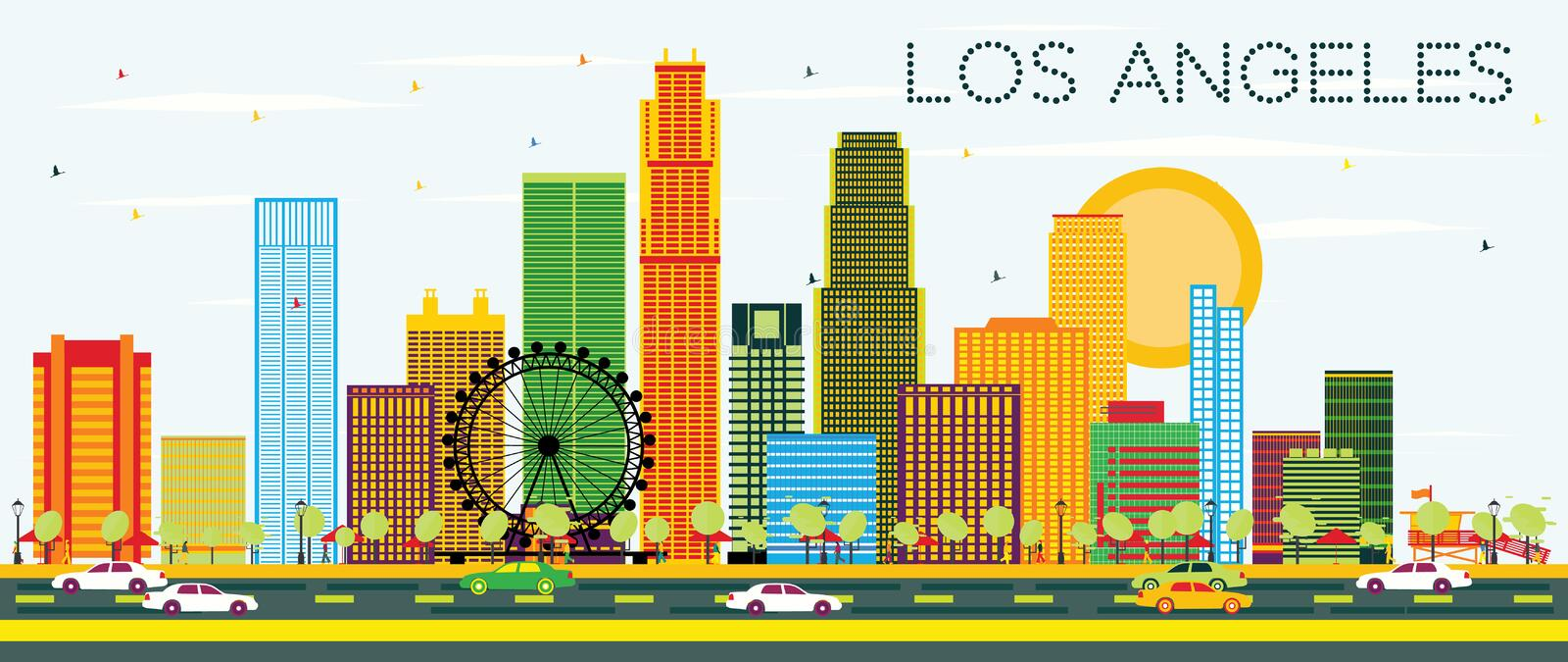 Los Angeles Skyline with Color Buildings and Blue Sky. Vector Illustration. Business Travel and Tourism Concept with Modern Architecture. Image for royalty free illustration