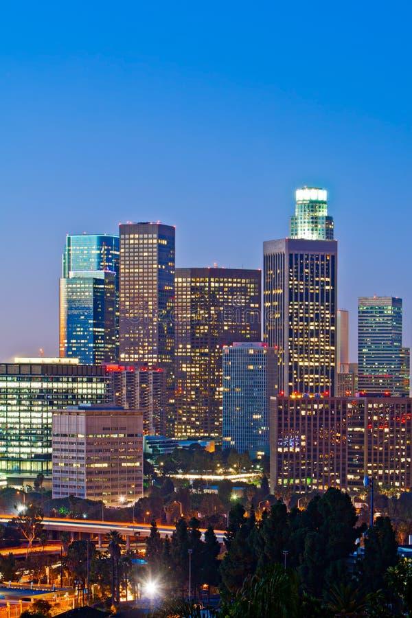 Los Angeles Skyline At Dusk stock photo