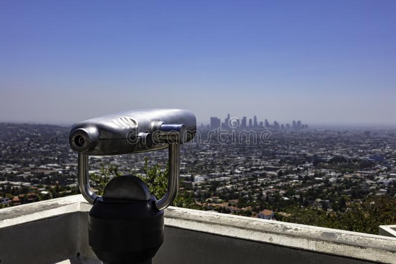 Los Angeles Skyline from Griffith Observatory. Los Angeles city skyline seen from Griffith Observatory in Los Angeles California stock image